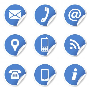 Web Contact Icons On Blue Labels