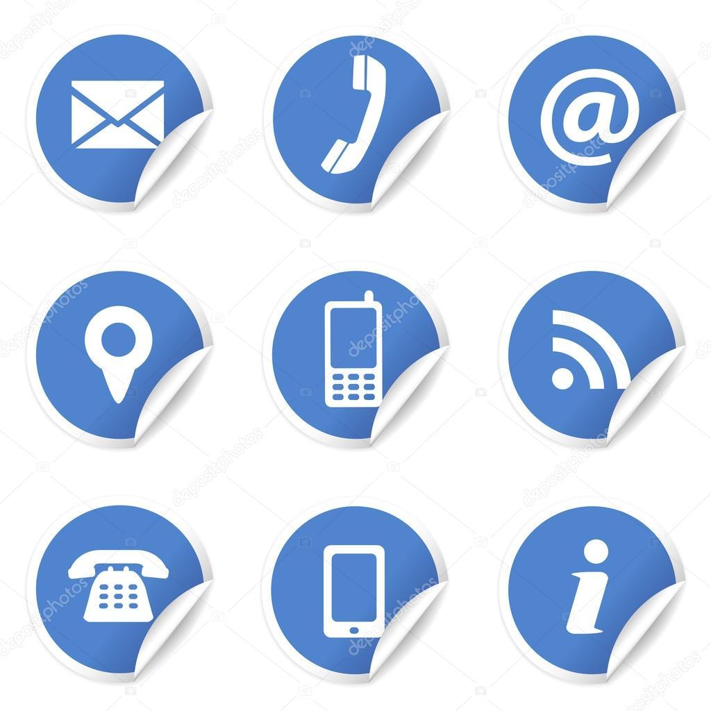 Web Contact Pictogrammen Op Blauwe Etiketten Stockvector