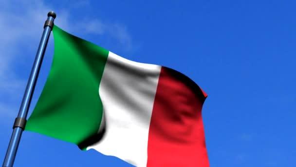 Italy Flag Waving On Blue Sky HD