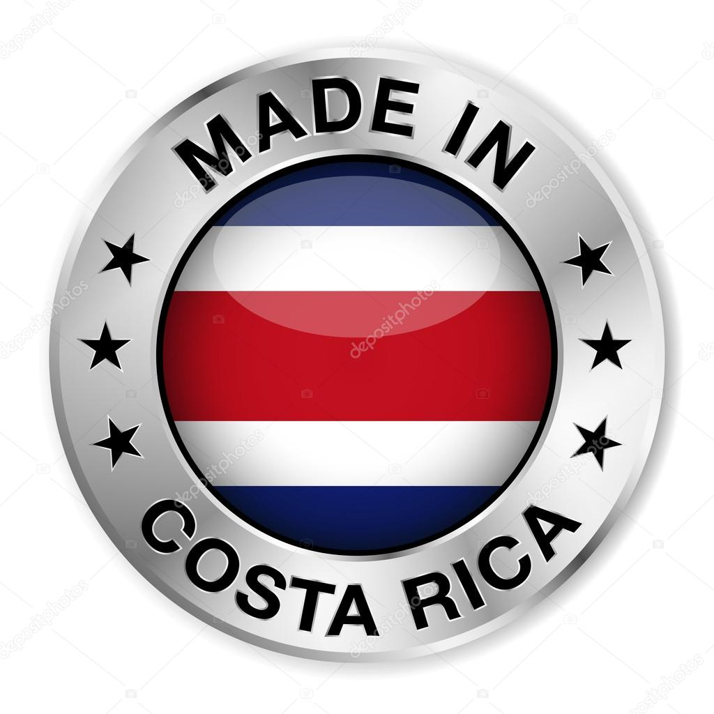 Made in costa rica stock vector nirodesign 49070329 made in costa rica silver badge and icon with central glossy costa rican flag symbol and stars vector eps10 illustration isolated on white background biocorpaavc Gallery