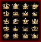 Photo Crown. Gold set. Collection icons. Vector.