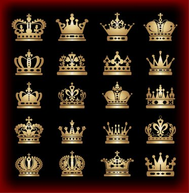 Crown. Gold set. Collection icons. Vector.