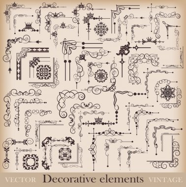 Decorative elements. Angle design. Vector image. Vintage.