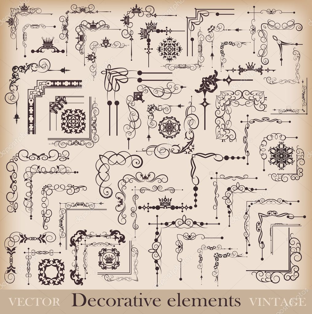 Decorative elements. Angle design. Vector image. Vintage.