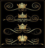 Fotografie Vector set. Victorian Scrolls and crown. Gold decorative elements.