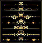 Vector set. Victorian Scrolls and crown. Gold decorative elements.