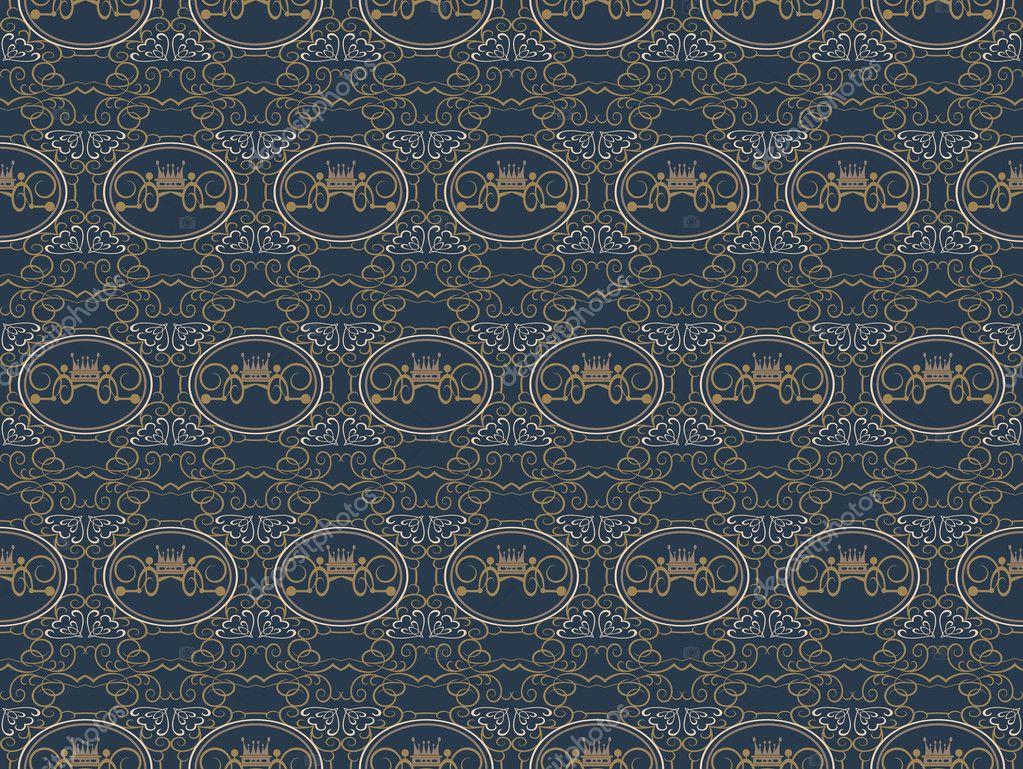 Behang Met Patroon : Achtergrond retro behang patroon naadloze u stockvector