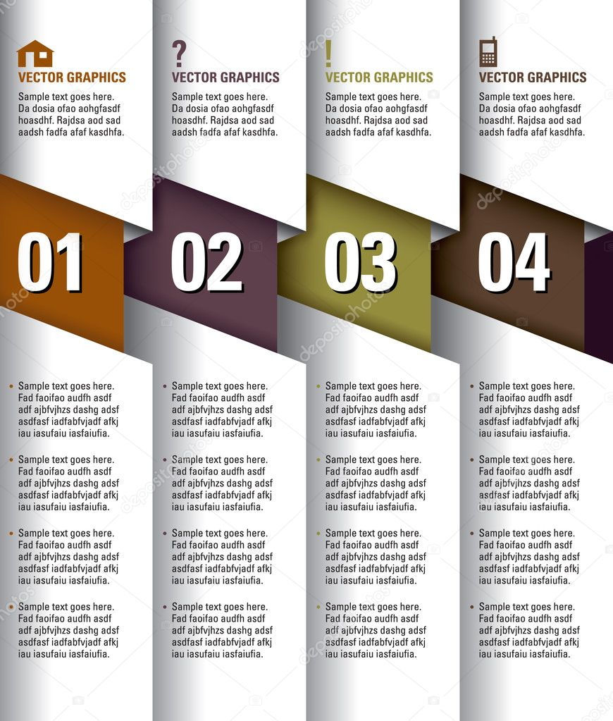 Modern Vector Design Template. Numbered Banners. Graphic or Website Layout. Eps10.