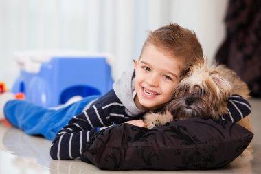 happy boy with dog