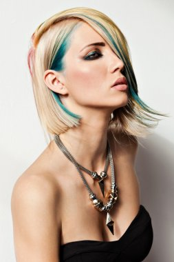 Model with dyed hair