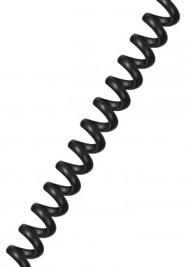 Spiral telephone cable isolated on white. Vector illustration