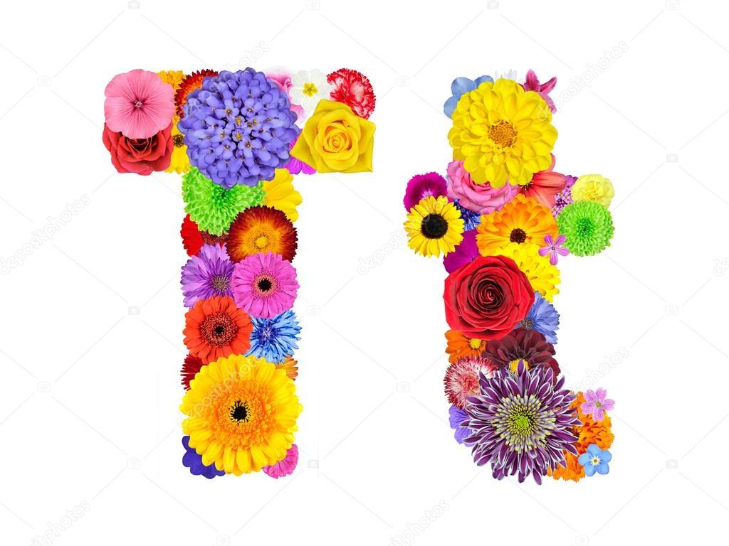Flower Alphabet Isolated on White - Letter T