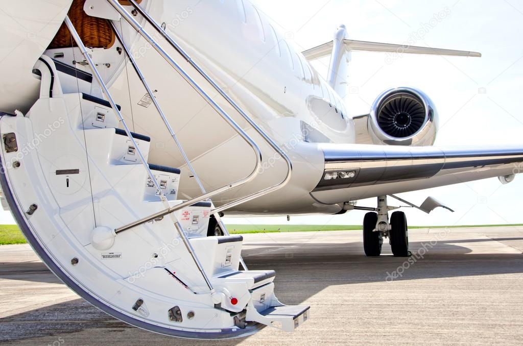 Stairs With Jet Engine On A Private Airplane Bombardier