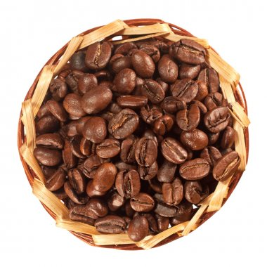 Many coffee beans in a basket top view