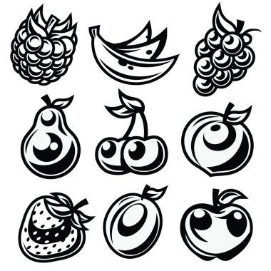 Black and White Stylized Fruit Icons