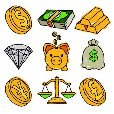 Gold Money and Financial Doodle Icons
