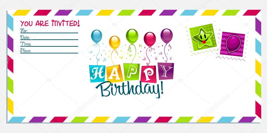 Открытка приглашение на день рождения на английском языке, человек