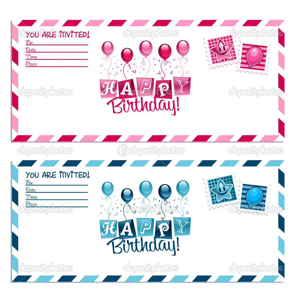 birthday party invitation envelope stock vector mictoon 19335179