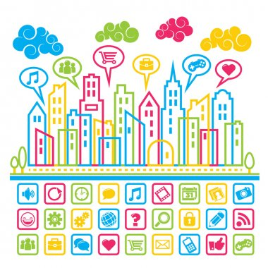 Colorful city with social media icons. clip art vector