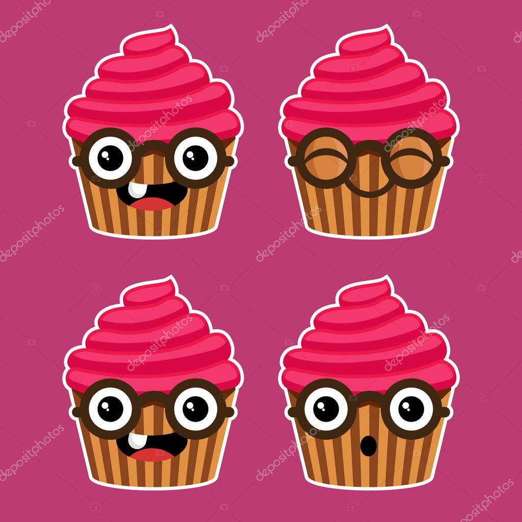 Animado Ilustraciones De Cupcakes Cupcakes De Dibujos Animados