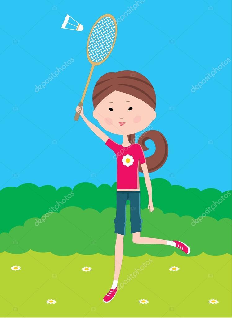 Cartoon girl plays badminton