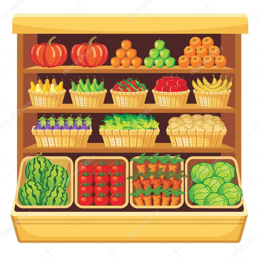 Supermarket. Vegetables and fruits.