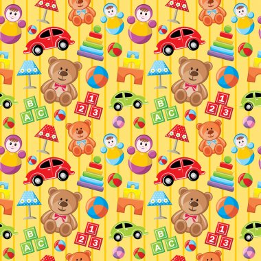 Seamless toys pattern. stock vector