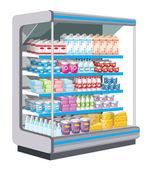 Fényképek szupermarket. tejipari termékek