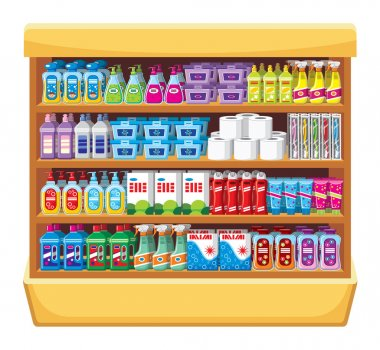Shelfs with household chemicals