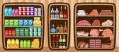 Fényképek szupermarket. polcok, az élelmiszer