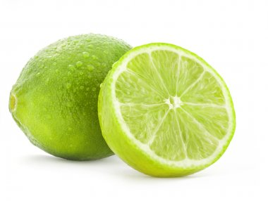 Fresh lime and slice, Isolated on white background stock vector