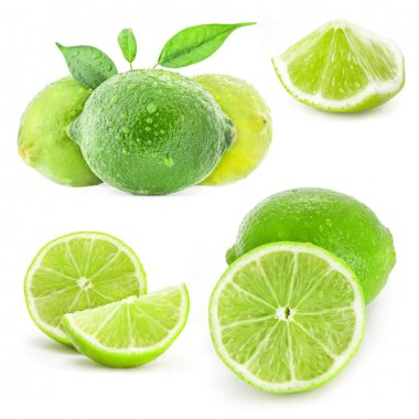 Collection Fresh lime and slice, Isolated on white background stock vector
