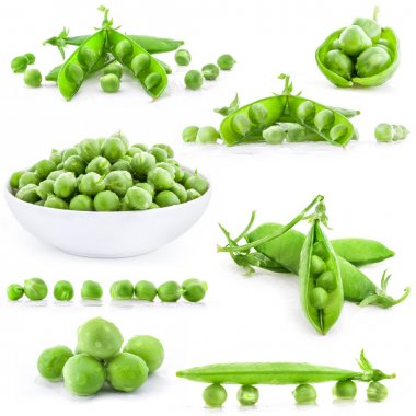 Collection Fresh green pea pod and peas