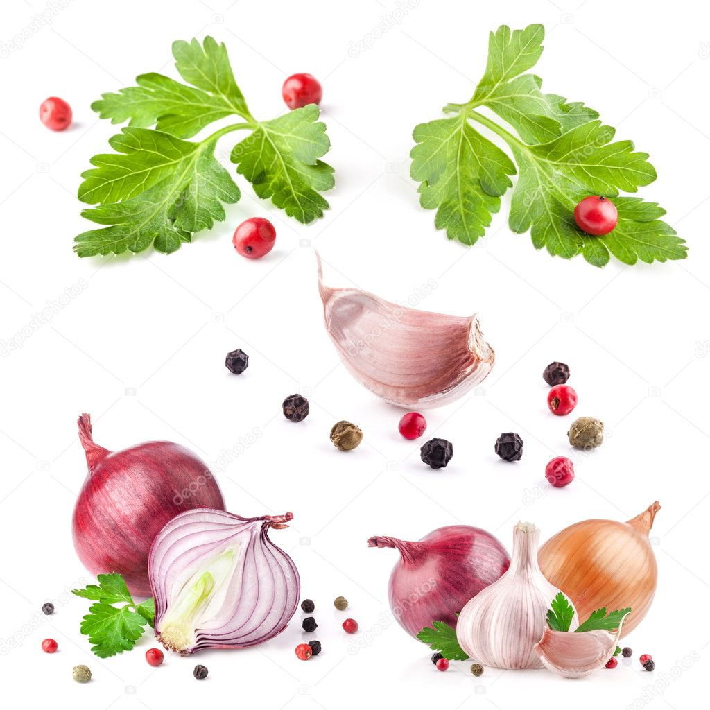Collections of Garlic and onion with peppercorn and parsley