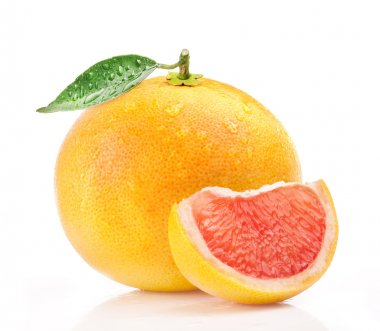 Grapefruit with leaves and drops