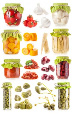 Collections of preserved vegetables in glass jar
