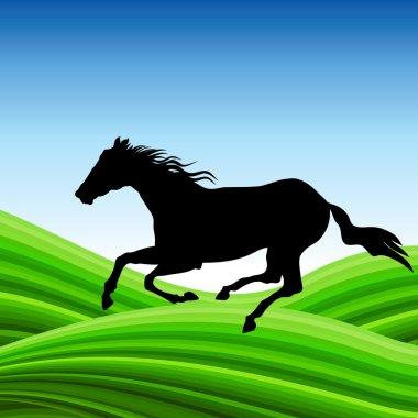 Horse on outdoor vector