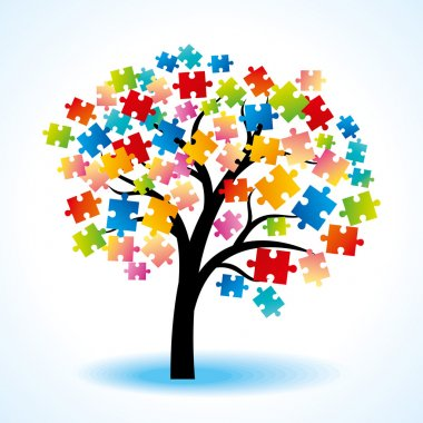 Tree puzzle colorful background