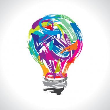 Creative painting idea with colorful bulb on white background stock vector