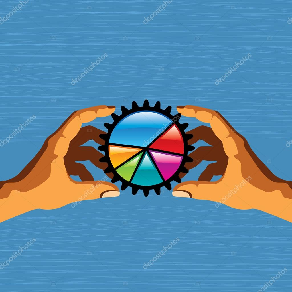 Hands holding  pie chart