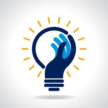 Idea bulb with hand