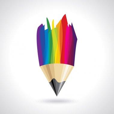 Creative colorful pencil icon