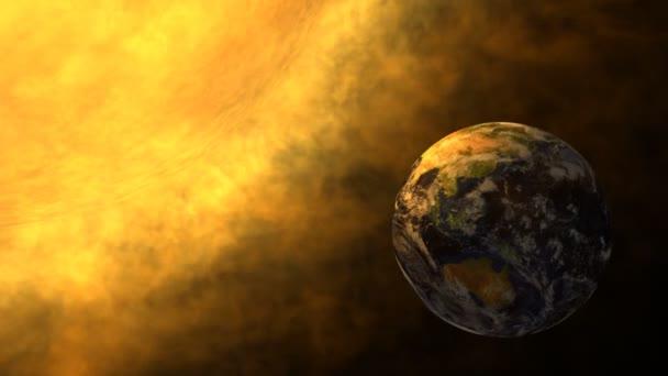 Bolygónk, a föld és a nap izzó, napkitörés, a globális felmelegedés