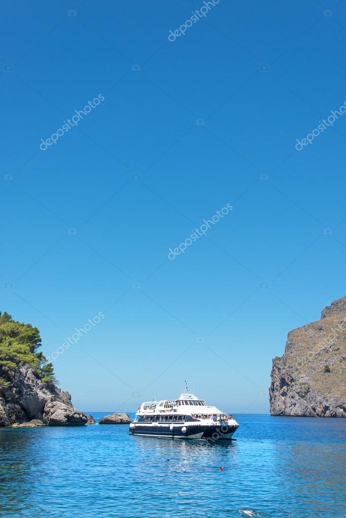 Ship in bay at Majorca Island