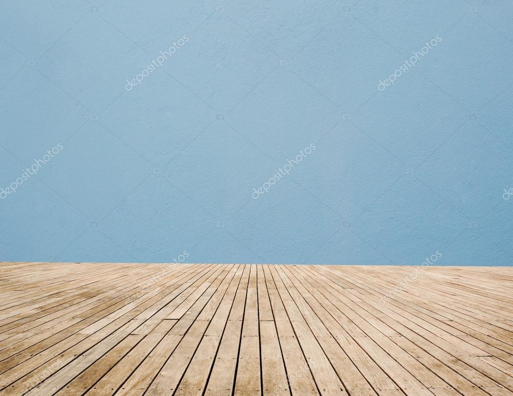 Wood Floor And Blue Wall