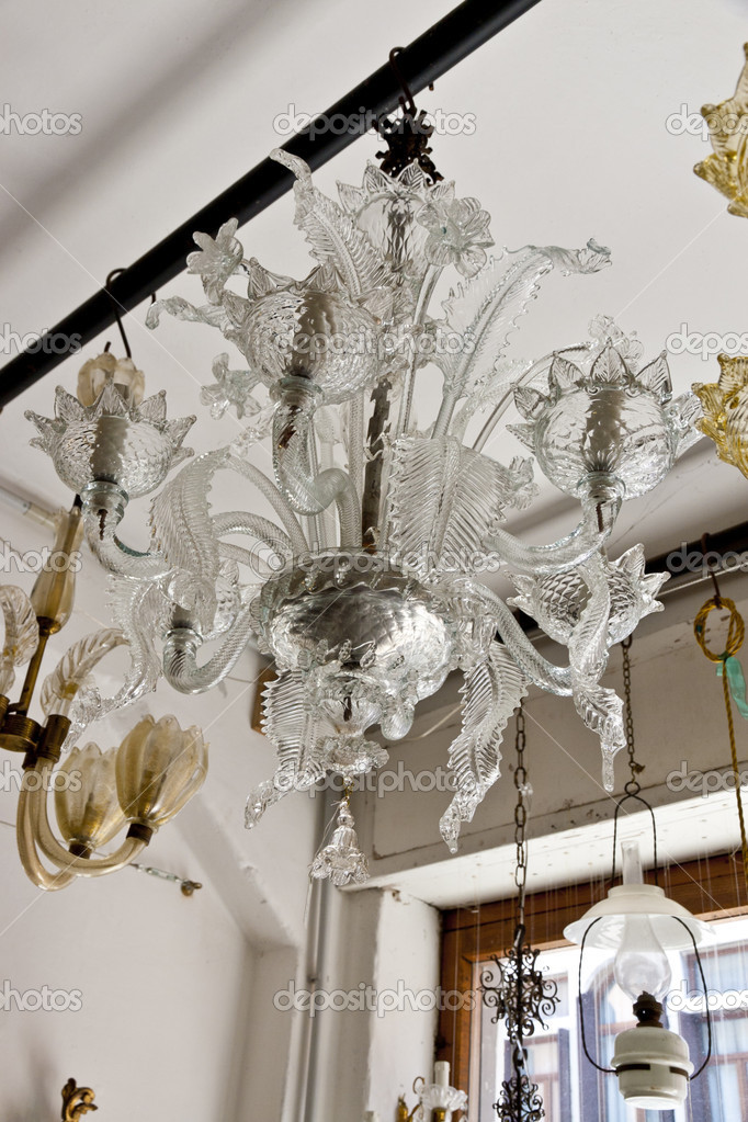 Antique venetian crystal chandelier stock photo volgariver 12829508 antique venetian crystal chandelier in antique shop photo by volgariver aloadofball Images