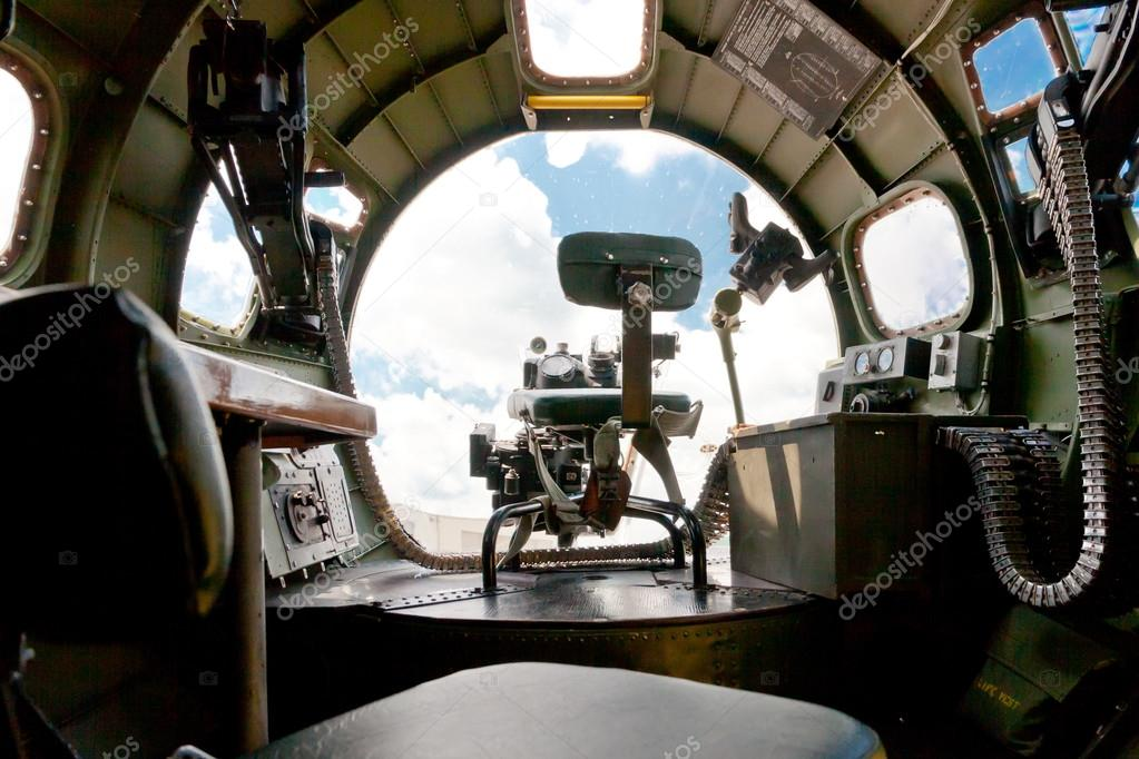 Boeing B 17 Bomber. Inside View Of Nose Canopy And Forward Gun U2014 Stock