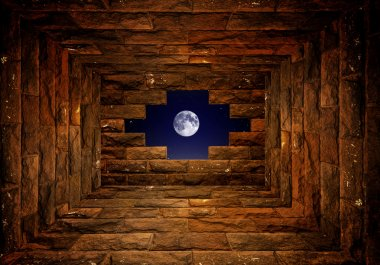 night sky with light through the hole in the brick wall