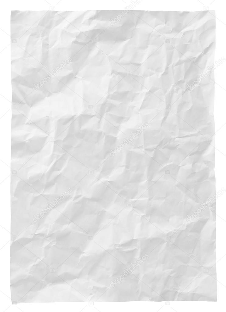 Bianco Carta Stropicciata Isolato Su Sfondo Bianco Foto Stock