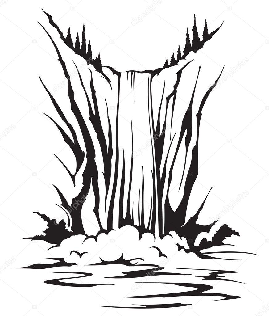 ᐈ Dibujo De Una Cascada Imágenes De Stock Vector Cascada